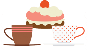 Illustration of a cake and cup of tea